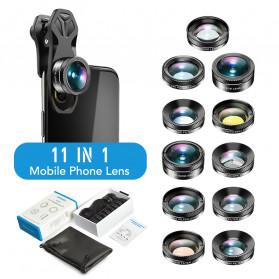 APEXEL 11 in 1 Lensa Smartphone Wide Macro Fisheye Filter HD Multifunction Kits - APL-DG11 - Black