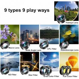 APEXEL 11 in 1 Lensa Smartphone Wide Macro Fisheye Filter HD Multifunction Kits - APL-DG11 - Black - 2