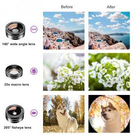 APEXEL 11 in 1 Lensa Smartphone Wide Macro Fisheye Filter HD Multifunction Kits - APL-DG11 - Black - 3