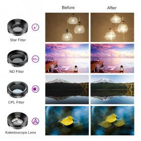 APEXEL 11 in 1 Lensa Smartphone Wide Macro Fisheye Filter HD Multifunction Kits - APL-DG11 - Black - 4