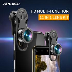 APEXEL 11 in 1 Lensa Smartphone Wide Macro Fisheye Filter HD Multifunction Kits - APL-DG11 - Black - 6