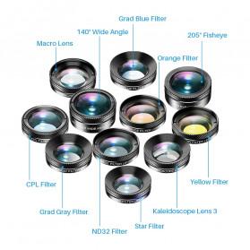 APEXEL 11 in 1 Lensa Smartphone Wide Macro Fisheye Filter HD Multifunction Kits - APL-DG11 - Black - 7