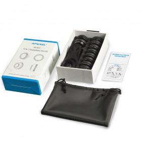 APEXEL 11 in 1 Lensa Smartphone Wide Macro Fisheye Filter HD Multifunction Kits - APL-DG11 - Black - 8