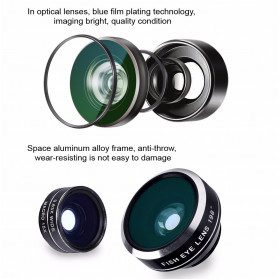 APEXEL 4 in 1 Lensa Zoom Tele Wide Macro Fisheye Lens Kit - APL-10XDG3 - Black - 2