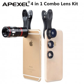 APEXEL 4 in 1 Lensa Zoom Tele Wide Macro Fisheye Lens Kit - APL-10XDG3 - Black - 3