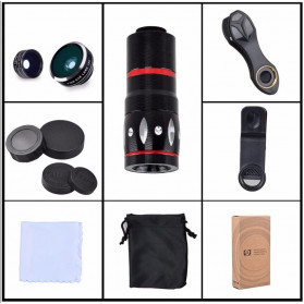 APEXEL 4 in 1 Lensa Zoom Tele Wide Macro Fisheye Lens Kit - APL-10XDG3 - Black - 4