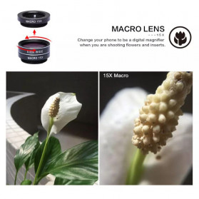APEXEL 4 in 1 Lensa Zoom Tele Wide Macro Fisheye Lens Kit - APL-10XDG3 - Black - 5