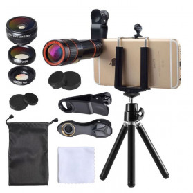 APEXEL 4 in 1 Lensa Fisheye + Macro + Wide Angle + Telephoto Lens Kit + Mini Tripod - APL-HS12DG3ZJ - Black