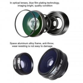 APEXEL 4 in 1 Lensa Fisheye + Macro + Wide Angle + Telephoto Lens Kit + Mini Tripod - APL-HS12DG3ZJ - Black - 2