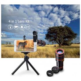 APEXEL 4 in 1 Lensa Fisheye + Macro + Wide Angle + Telephoto Lens Kit + Mini Tripod - APL-HS12DG3ZJ - Black - 3