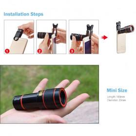 APEXEL 4 in 1 Lensa Fisheye + Macro + Wide Angle + Telephoto Lens Kit + Mini Tripod - APL-HS12DG3ZJ - Black - 4