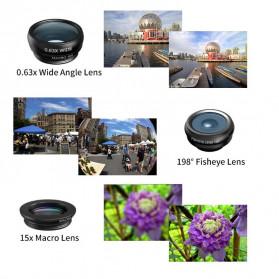 APEXEL 4 in 1 Lensa Fisheye + Macro + Wide Angle + Telephoto Lens Kit + Mini Tripod - APL-HS12DG3ZJ - Black - 5