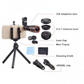 APEXEL 4 in 1 Lensa Fisheye + Macro + Wide Angle + Telephoto Lens Kit + Mini Tripod - APL-HS12DG3ZJ - Black - 6