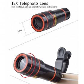 APEXEL 4 in 1 Lensa Fisheye + Macro + Wide Angle + Telephoto Lens Kit + Mini Tripod - APL-HS12DG3ZJ - Black - 7