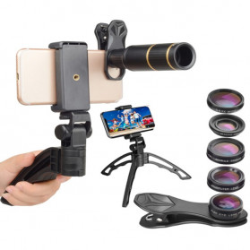 APEXEL 4 in 1 Lensa Fisheye + Macro + Wide Angle + Telephoto Lens Kit + SwitchPod - APL-JS16XJJ04D5 - Black