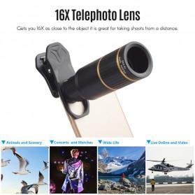 APEXEL 4 in 1 Lensa Fisheye + Macro + Wide Angle + Telephoto Lens Kit + SwitchPod - APL-JS16XJJ04D5 - Black - 2