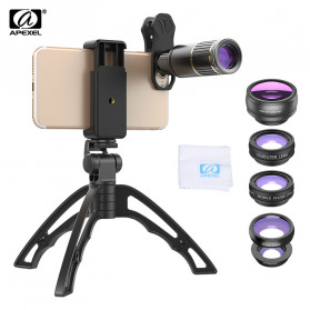 APEXEL 4 in 1 Lensa Fisheye + Macro + Wide Angle + Telephoto Lens Kit + SwitchPod - APL-JS16XJJ04D5 - Black - 3