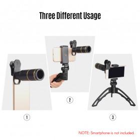 APEXEL 4 in 1 Lensa Fisheye + Macro + Wide Angle + Telephoto Lens Kit + SwitchPod - APL-JS16XJJ04D5 - Black - 4