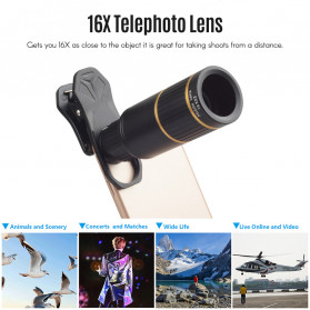APEXEL 4 in 1 Lensa Fisheye + Macro + Wide Angle + Telephoto Lens Kit + SwitchPod - APL-JS16XJJ04D5 - Black - 5