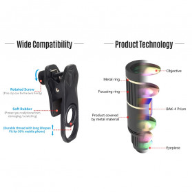 APEXEL 4 in 1 Lensa Fisheye + Macro + Wide Angle + Telephoto Lens Kit + SwitchPod - APL-JS16XJJ04D5 - Black - 8