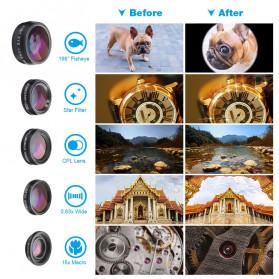 APEXEL 4 in 1 Lensa Fisheye + Macro + Wide Angle + Telephoto Lens Kit + SwitchPod - APL-JS16XJJ04D5 - Black - 9