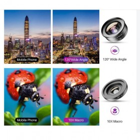 APEXEL Lensa Kamera Smartphone Universal Clip Wide Angle + Macro Lens - APL-HD5-2IN1WM - Black - 2
