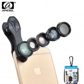 APEXEL 5 in 1 Lensa CPL Fisheye Macro Telephoto Wide Angle Lens - APL-DG5H - Black