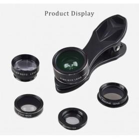 APEXEL 5 in 1 Lensa CPL Fisheye Macro Telephoto Wide Angle Lens - APL-DG5H - Black - 5