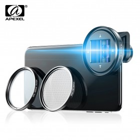 APEXEL Lensa Smartphone Anamorphic Lens 1.33x with CPL and Starliight Filter- APL-PRAN-V2 - Black