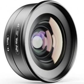 APEXEL Lensa Kamera Smartphone Universal Clip Wide Angle + Macro Lens - APL-HB2IN1WM - Black - 3