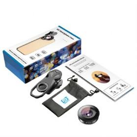 APEXEL Lensa Kamera Smartphone Universal Clip Wide Angle + Macro Lens - APL-HB2IN1WM - Black - 6