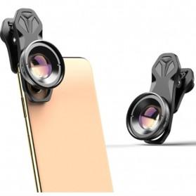 APEXEL Lensa Kamera Smartphone Universal Clip 30-80mm Macro Lens - APL-HB3080 - Black