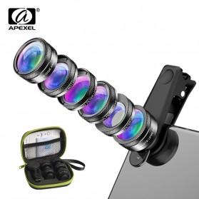 APEXEL 6 in 1 Lensa Fisheye + Macro 25x + Wide Angle + CPL+ Star Filter + ND32 Lens Kit - APL-DG6V2 - Black