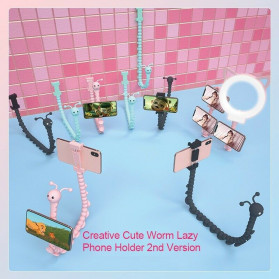 Binmer Lazy Smartphone Holder Suction 360 Flexible Cute Worm - JW-L8 - Black - 5