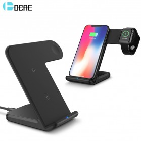 DCAE 2in1 Qi Wireless Fast Charger Dock 10W for Smartphone and Apple Watch - B158 - Black