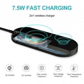 DCAE 2 in 1 Qi Wireless Charging Dock Smartphone + Smartwatch 10W - WX3IN1 - Black - 6