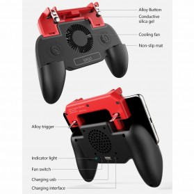 Ipega Gamepad Grip Trigger Aim Touchpad L1 R1 PUBG Fortnite with Cooling Fan + 2000mAh Powerbank - PG-9123 - Black - 6