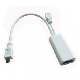 Fullink MHL Micro USB 5pin Adapter to HDMI Female with Micro USB Male - White