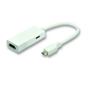 Fullink MHL Micro USB 5pin Adapter to HDMI Female with Micro USB Female - White