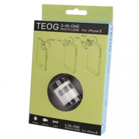 Teog Photo Lens Kit 3 in 1 (180 Degree 0.28x Fisheye Lens + Wide Lens + Marco Lens) for iPhone 5 - White - 7