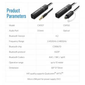 UGreen Audio Bluetooth Transmitter aptX Optical Plug - 50213 - Black - 6