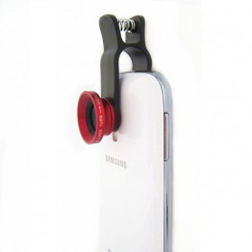Lesung Universal Clip Lens Fisheye 3 in 1 for Smartphone - LX-U003 - Red