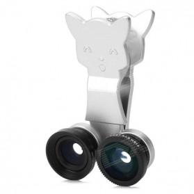 Lesung Universal 3 in 1 Cat Clip Fisheye for Smartphone - LX-U005 - Silver