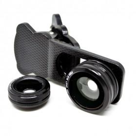 Lesung Universal Clip 3 in 1 Photo Lens (180 Degree Fisheye Lens + 0.67x Wide Lens + Macro Lens) for Smartphone - LX-U301 - Black