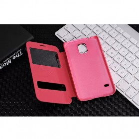 SULADA Smart Leather Case Double Window Series for Samsung Galaxy S5 - Red