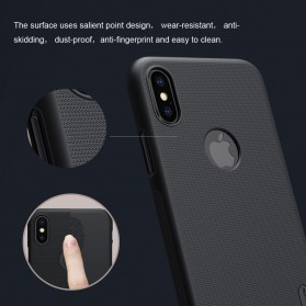 Nillkin Super Frosted Shield Hard Case with Logo Cutout for iPhone X - Black - 8