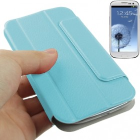 Flip Leather Case Cover Pouch with Holder for Samsung Galaxy SIII / i9300 - Baby Blue