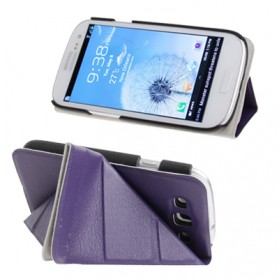 Horizontal Flip Leather Case Cover with Holder for Samsung Galaxy SIII / i9300 - Purple