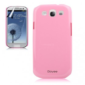 Smooth Surface Plastic Case with LCD Screen Protector for Samsung Galaxy SIII / i9300 - Pink