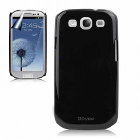 Smooth Surface Plastic Case with LCD Screen Protector for Samsung Galaxy SIII / i9300 - Baby Blue